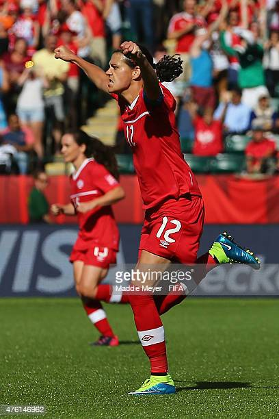 Christine Sinclair of Canada celebrates after scoring a game winning penalty kick against China PR during second half of the FIFA Women's World Cup...