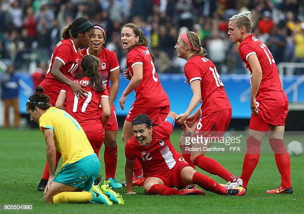 Christine Sinclair of Canada celebrates after scoring a goal during the Women's First Round Group F match between Canada and Australia at Arena...