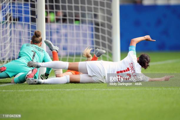 Christine Sinclair of Canada celebrates after scoring a goal to make it 1-1 during the 2019 FIFA Women's World Cup France group E match between...