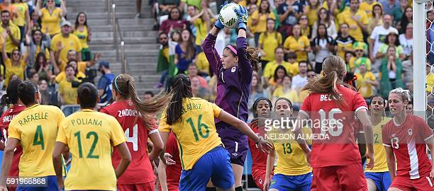 Christine Sinclair of Canada celebrates after scoring against Brazil during the Rio 2016 Olympic Games women's bronze medal football match Brazil vs...