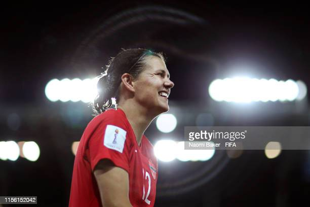 Christine Sinclair of Canada celebrates following her sides victory in the 2019 FIFA Women's World Cup France group E match between Canada and New...