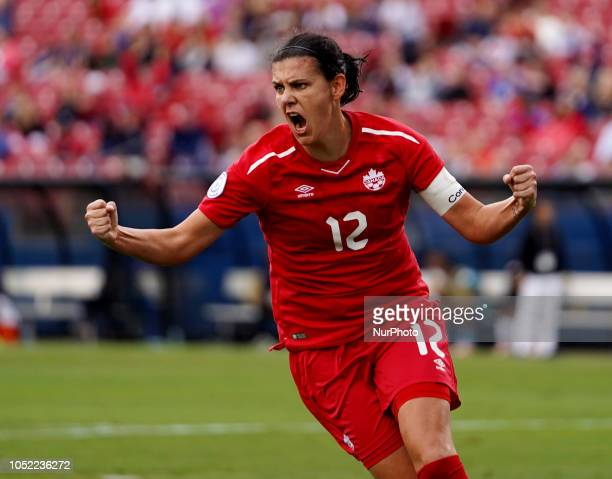 Christine Sinclair of Canada celebrates her goal During Concacaf Women's Championship SemiFinal match between Panama against Canada at Toyota Stadium...