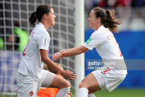 Christine Sinclair of Canada celebrates with Allysha Chapman of Canada after scoring a goal to make it 1-1 during the 2019 FIFA Women's World Cup...