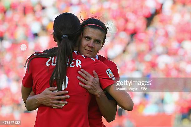 Christine Sinclair of Canada celebrates with Emily Zurrer after the FIFA Women's World Cup Canada 2015 Group A match between Canada and China PR at...