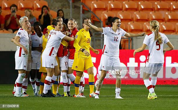 Christine Sinclair of Canada celebrates with her team after defeating Costa Rica 31 during the Semifinal of the 2016 CONCACAF Women's Olympic...