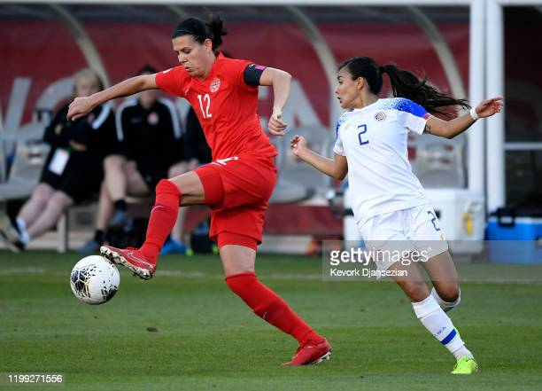 Christine Sinclair of Canada controls the ball against Gabriela Guillen of Costa Rica during the first half of the Semifinals 2020 CONCACAF Women's...