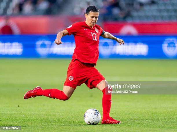 Christine Sinclair of Canada crosses the ball during a game between Canada and Costa Rica at Dignity Health Sports Park on February 07 2020 in Carson...