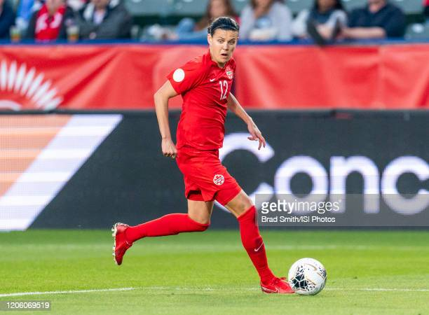 Christine Sinclair of Canada dribbles during a game between Canada and Costa Rica at Dignity Health Sports Park on February 07 2020 in Carson...