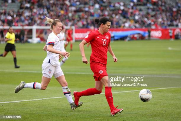 Christine Sinclair of Canada during a game between Canada and United States at Dignity Health Sports Park on February 9 2020 in Carson California