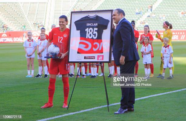 Christine Sinclair of Canada is honored during a game between Canada and Costa Rica at Dignity Health Sports Park on February 07 2020 in Carson...