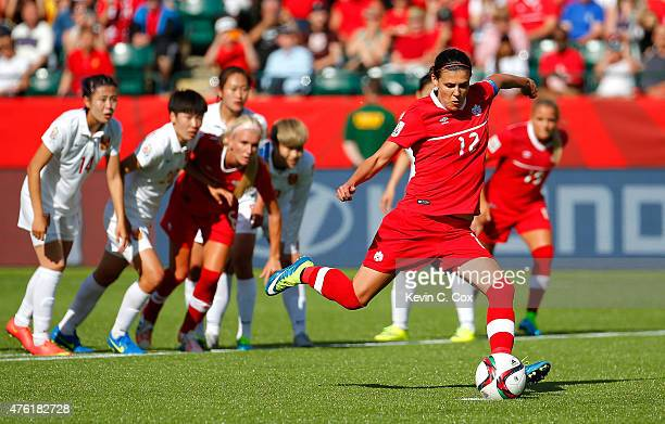 Christine Sinclair of Canada kicks the goahead goal on a penalty kick in the final minutes against China PR during the FIFA Women's World Cup Canada...