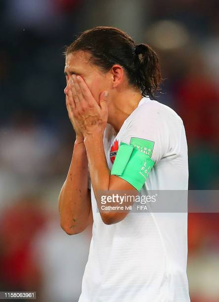Christine Sinclair of Canada looks dejected following her sides defeat in the 2019 FIFA Women's World Cup France Round Of 16 match between Sweden and...