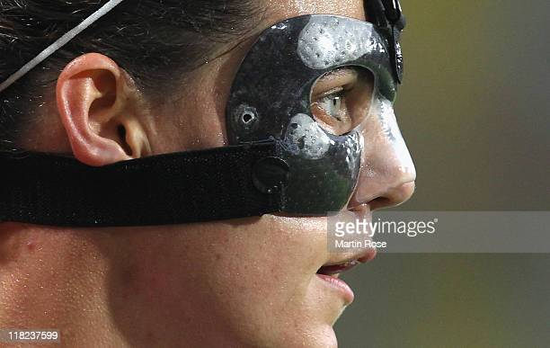 Christine Sinclair of Canada looks on during the FIFA Women's World Cup 2011 Group A match between Canada and Nigeria at RudolfHarbigStadion on July...