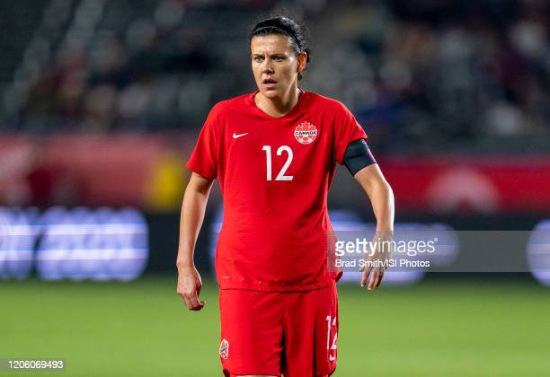 Christine Sinclair of Canada looks to the ball during a game between Canada and Costa Rica at Dignity Health Sports Park on February 07 2020 in...
