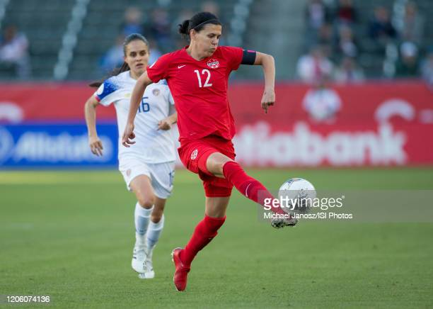 Christine Sinclair of Canada passes off a ball during a game between Canada and Costa Rica at Dignity Health Sports Park on February 07 2020 in...