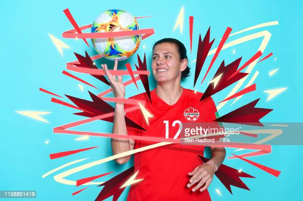 Christine Sinclair of Canada poses for a portrait during the official FIFA Women's World Cup 2019 portrait session at Courtyard by Marriott...