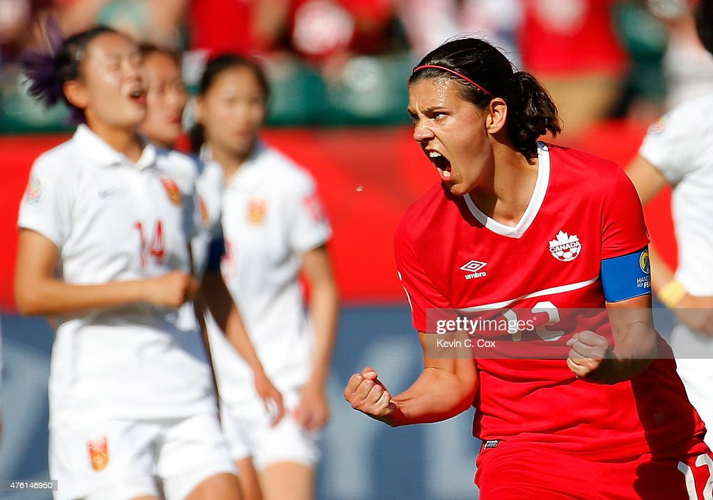 Christine Sinclair #12 of Canada reacts after scoring the go-ahead goal on a penalty kick in the final minutes against China during the FIFA Women's World Cup Canada 2015 Group A match between Canada and China PR at Commonwealth Stadium on June 6, 2015 in Edmonton, Canada.