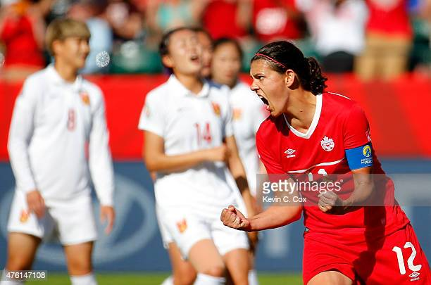 Christine Sinclair of Canada reacts after scoring the goahead goal on a penalty kick in the final minutes against China during the FIFA Women's World...