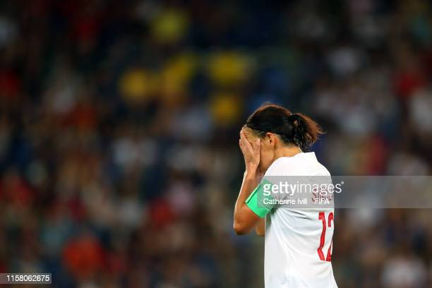 Christine Sinclair of Canada reacts during the 2019 FIFA Women's World Cup France Round Of 16 match between Sweden and Canada at Parc des Princes on...