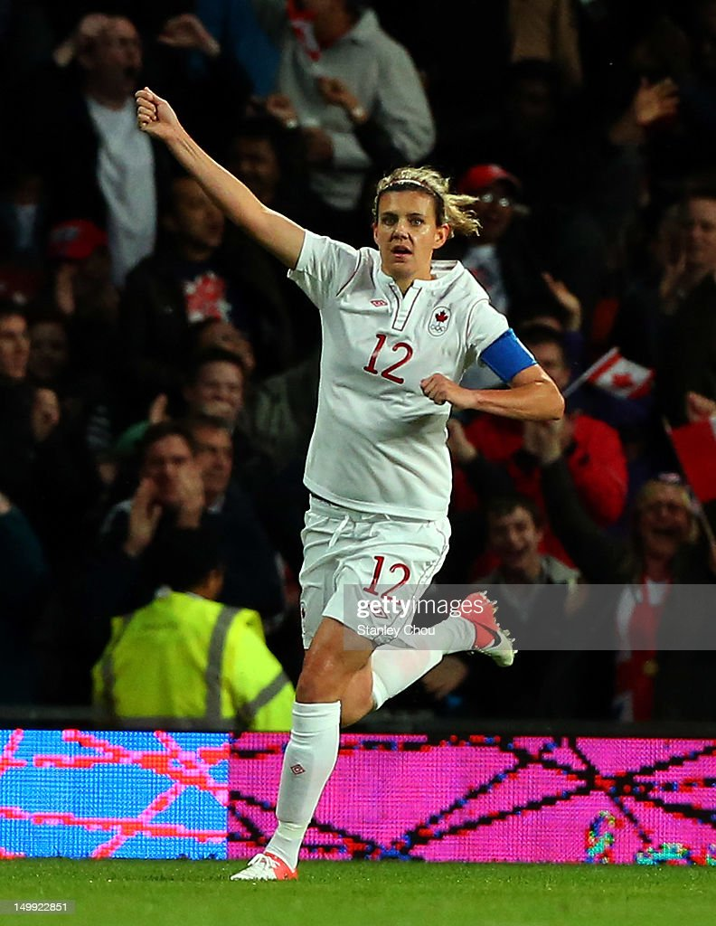 Christine Sinclair of Canada reels away after scoring the second goal against USA during the Women's Football Semi Final match between Canada and USA, on Day 10 of the London 2012 Olympic Games at Old Trafford on August 6, 2012 in Manchester, England.