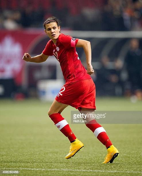 Christine Sinclair of Canada runs during Women's International Soccer Friendly Series action against Japan on October 28 2014 at BC Place Stadium in...