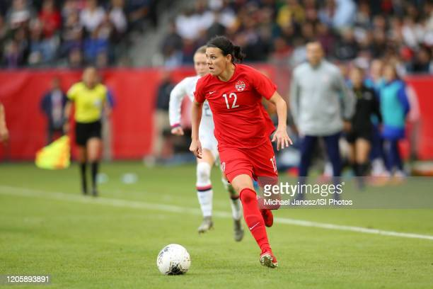 Christine Sinclair of Canada runs with the ball during a game between Canada and United States at Dignity Health Sports Park on February 9 2020 in...