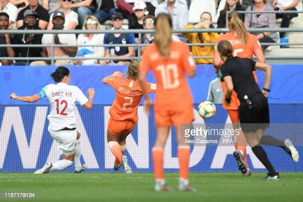 Christine Sinclair of Canada scores her team's first goal during the 2019 FIFA Women's World Cup France group E match between Netherlands and Canada...