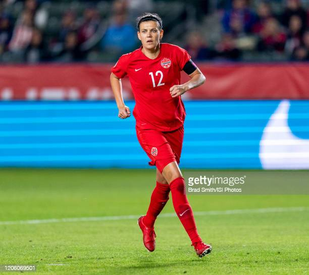 Christine Sinclair of Canada sprints during a game between Canada and Costa Rica at Dignity Health Sports Park on February 07 2020 in Carson...