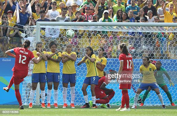 Christine Sinclair of Canada takes a free kick during the Women's Football Bronze Medal match between Brazil and Canada on Day 14 of the Rio 2016...
