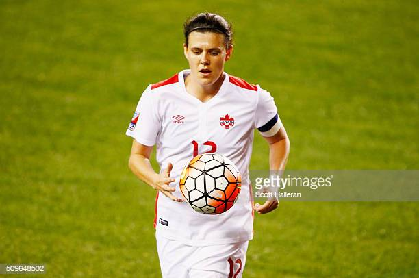 Christine Sinclair of Canada walks to take a corner kick against Guyana during the 2016 CONCACAF Women's Olympic Qualifying at BBVA Compass Stadium...
