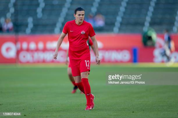 Christine Sinclair of Canada warming up during a game between Canada and Costa Rica at Dignity Health Sports Park on February 07 2020 in Carson...