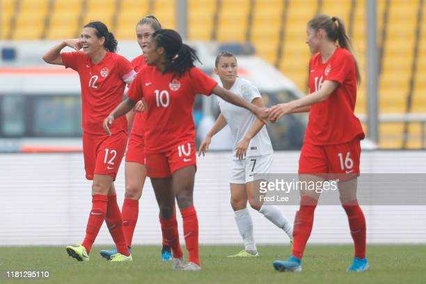 Christine Sinclair of Canada Women celebrates scoring their first goal during the Women's International match between Canada and New Zealand...