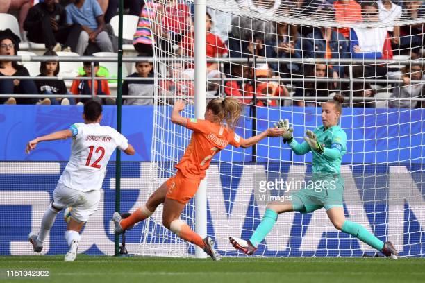Christine Sinclair of Canada women, Desiree van Lunteren of Netherlands women, goalkeeper Sari van Veenendaal of Netherlands women during the FIFA...