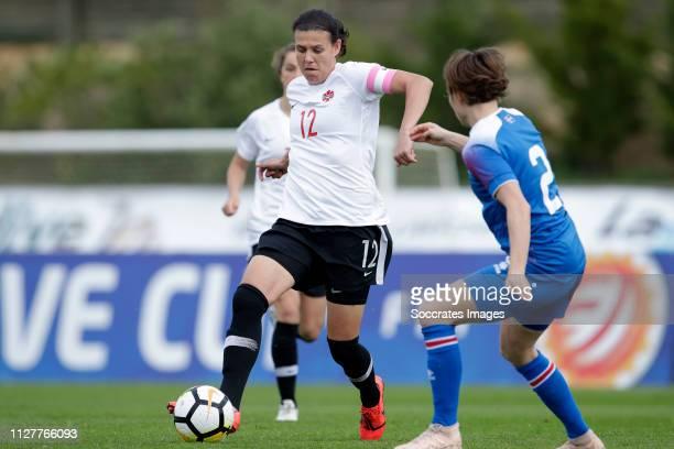 Christine Sinclair of Canada Women during the Algarve Cup Women match between Canada v Iceland at the Estadio Municipal da Bela Vista on February 27...