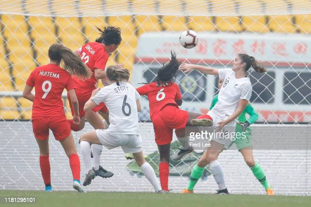 Christine Sinclair of Canada Women scores their first goal during the Women's International match between Canada and New Zealand atChongqing...