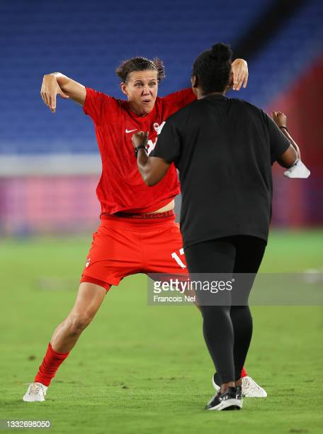 Christine Sinclair of Team Canada celebrates following their team's victory in the penalty shoot out in the Women's Gold Medal Match between Canada...