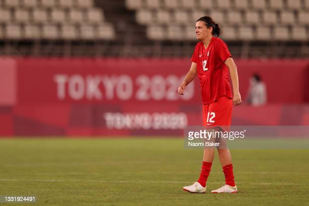 Christine Sinclair of Team Canada looks on after the Women's Semi-Final match between USA and Canada on day ten of the Tokyo Olympic Games at Kashima...