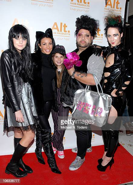 Christine Staub Danielle Staub Jillian Staub Eric Alt and Johnny Weir attend the Halloween Disco Ball at Eric Alt Salon on October 28 2010 in...
