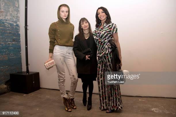 Christine Staub Karen Erickson and Danielle Staub attend the Angela Mitchell presentation during New York Fashion Week The Shows on February 11 2018...