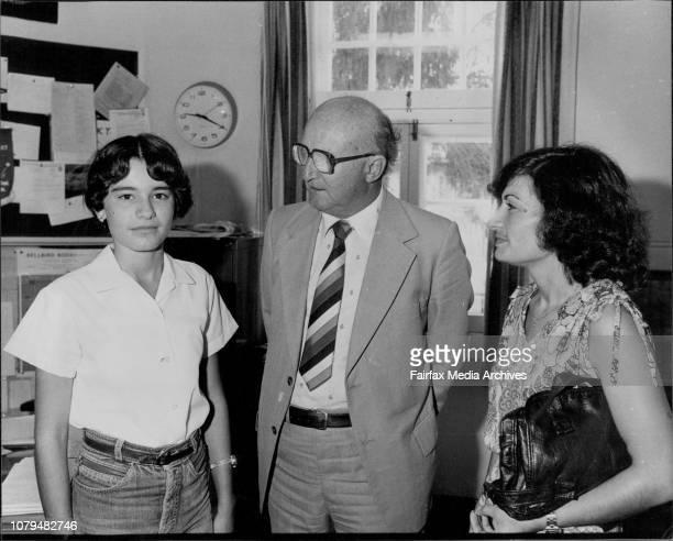Christine Story Enmore High School's principal Mr Allan Wellham with Mrs Pam Mavroidis and Christine March 26 1980