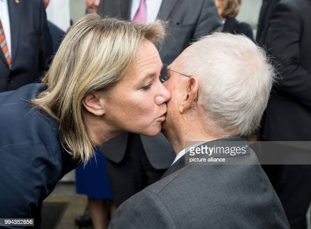 Christine Strobl the daughter of the German finance minister Wolfgang Schäuble congratulates her father at a reception marking his 75th birthday in...