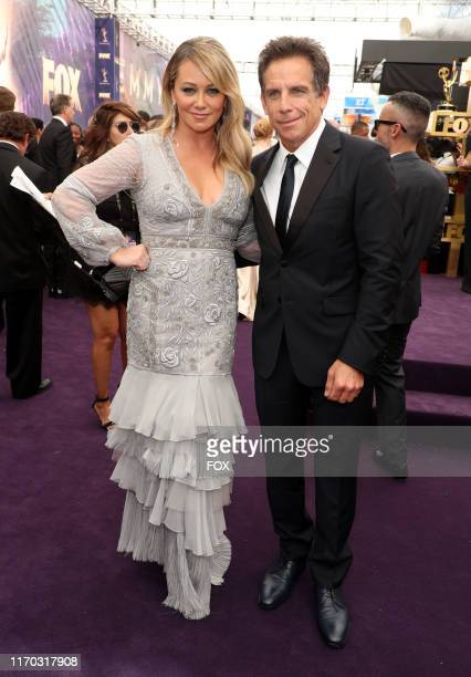 Christine Taylor and Ben Stiller attend FOXS LIVE EMMY® RED CARPET ARRIVALS during the 71ST PRIMETIME EMMY® AWARDS airing live from the Microsoft...
