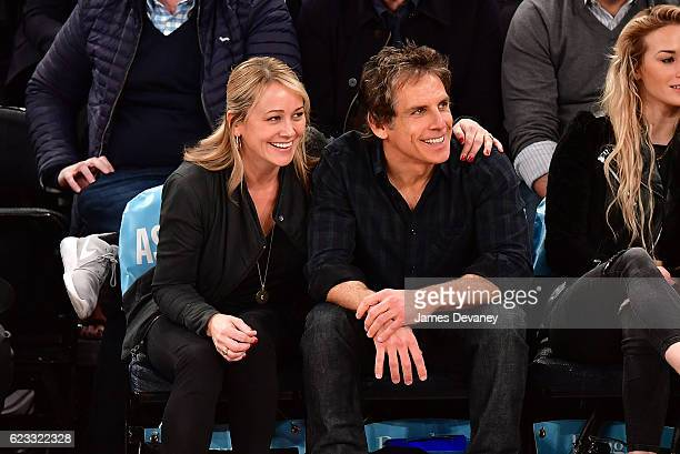 Christine Taylor and Ben Stiller attend New York Knicks vs Dallas Mavericks game at Madison Square Garden on November 14 2016 in New York City
