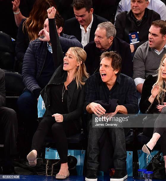 Christine Taylor and Ben Stiller attend New York Knicks vs Dallas Mavericks game at Madison Square Garden on November 14 2016 in New York City