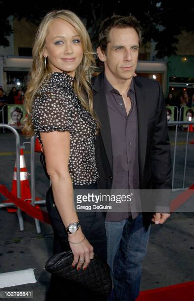 Christine Taylor and Ben Stiller during Knocked Up Los Angeles Premiere Arrivals at Mann Village Theatre in Westwood California United States