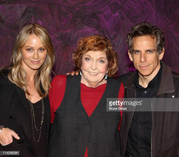 """Christine Taylor, Anne Meara and son Ben Stiller pose backstage at the hit play """"Love, Loss and What I Wore"""" Off-Broadway at The Westside Theater on..."""
