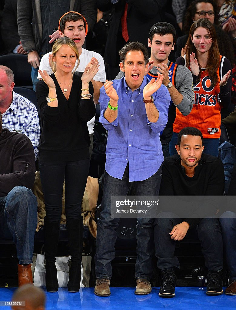 Christine Taylor, Ben Stiller and John Legend attend the Los Angeles Lakers vs New York Knicks game at Madison Square Garden on December 13, 2012 in New York City.