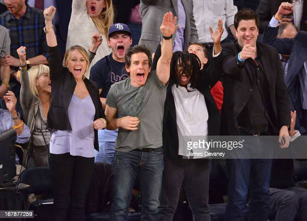 Christine Taylor Ben Stiller and Whoopi Goldberg attend the Boston Celtics vs New York Knicks Playoff Game at Madison Square Garden on May 1 2013 in...