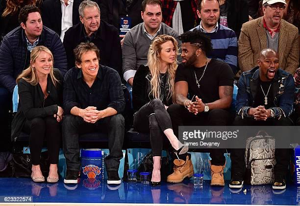 Christine Taylor Ben Stiller Ragon Miller Jason Derulo and Floyd Mayweather attend New York Knicks vs Dallas Mavericks game at Madison Square Garden...