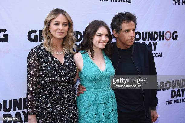 Christine Taylor Ella Olivia Stiller and Ben Stiller attend the Groundhog Day Broadway Opening Night at August Wilson Theatre on April 17 2017 in New...